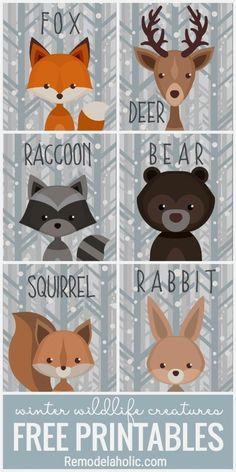 This free set of printable winter woodland creature art is versatile and adorabl.This free set of printable winter woodland creature art is versatile and adorable. Use it as a gift tag, nursery decor, banner, and more. Forest Creatures, Forest Animals, Woodland Creatures Nursery, Woodland Creature Baby Shower, Shower Bebe, Woodland Theme, Woodland Nursery Decor, Woodland Art, Animal Decor