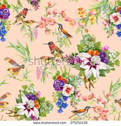 Watercolor Wild exotic birds on flowers seamless pattern on pink background