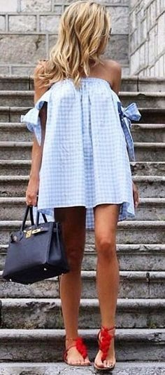 #summer #trending #outfits | Blue Gingham Bardot Dress