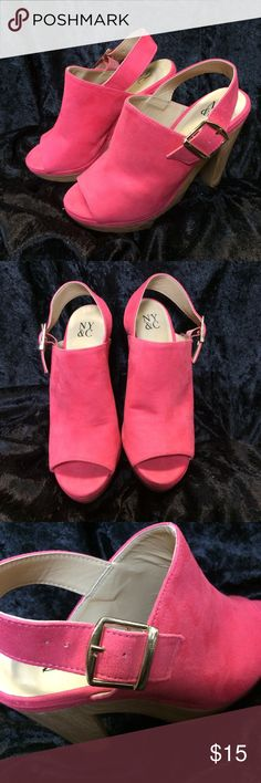 NY & CO. Hot pink suede heels. NY & CO. Pink suede heels. Small mark on inner left shoe as seen in pictures, still great condition. Size 6 NY&CO. Shoes Heels