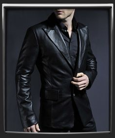 1a789eb4606 Blazer style leather jacket with a classic gothic feel. 100% made in Italy.
