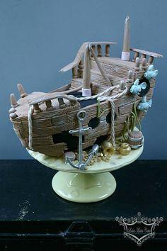 Gezonken piratenschip taart voor stoere piraatjes
