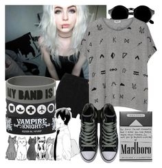 """""""Grey"""" by natsuko-yuuki ❤ liked on Polyvore featuring Retrò, Current/Elliott, Hello Darling, Kenzo and Converse"""