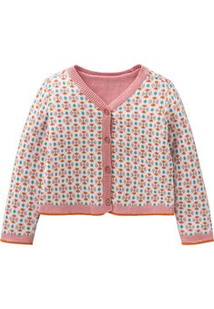 Jacquard knitted cardigan with graphic motif.