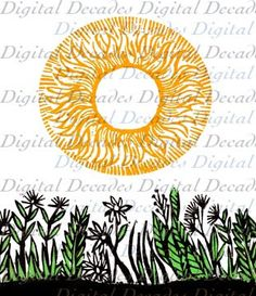 Hey, I found this really awesome Etsy listing at https://www.etsy.com/listing/160880535/sunny-flowered-field-sun-flowers-woodcut