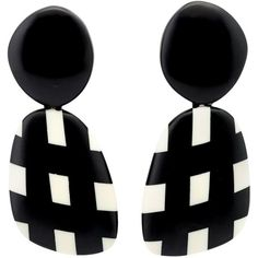 Black and white contrast check clip-on earrings from Monies. These earrings come as a pair.