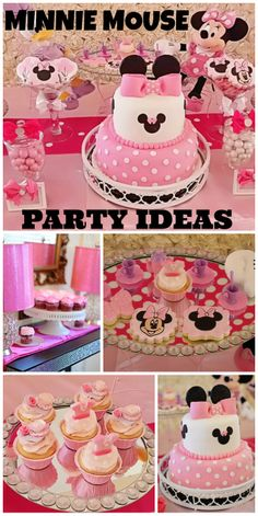 Such an adorable pink Minnie Mouse girl birthday party! See more party ideas at… Minnie Mouse 1st Birthday, Minnie Mouse Theme, Minnie Mouse Baby Shower, Mickey Y Minnie, Mickey Party, Baby 1st Birthday, 3rd Birthday Parties, Pink Minnie, Birthday Ideas
