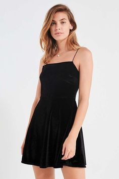 Slide View: 1: UO Velvet Straight-Neck Mini Dress