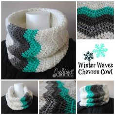 Ravelry: Winter Waves Chevron Cowl pattern by Lorene Haythorn Eppolite- Crochet Mode Crochet, Diy Crochet, Crochet Crafts, Chevron Crochet, Crochet Ideas, Diy Crafts, Crochet Motifs, Crochet Shawl, Crochet Stitches