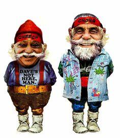 Cheech and Chong Gnomes Dave's Not Here Man, Cheech And Chong, Sock Crafts, Puff And Pass, Gnomes, Nerdy, Ronald Mcdonald, Superhero, Funny