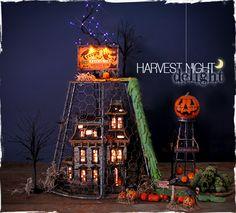Chicken Wire Cloche - How Tos - Bronner's CHRISTmas Wonderland - Bronner's Department 56 Harvest Night Delight Halloween Village display #cloche