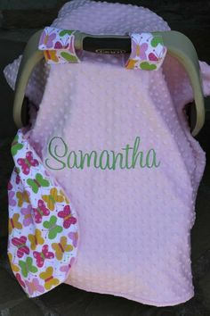 Baby Car Seat Cover Tent Boy or Girl, Fabric and Minky you design, Personalized $41.99