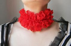 Red lace choker Ruff collar Queen of Hearts Red collar Queen