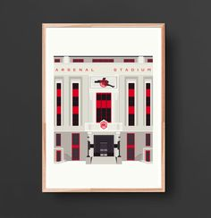 Art Deco London: The Old Arsenal Stadium A2/A3 print on 210/ 250gsm thick matte paper. A3: 11.7 x 16.5 inches A2: 16.53 x 23.39 in