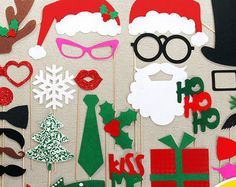 Christmas Photo Booth props 30 piece Felt and Glitter booth props. Family Christmas Party Photobooth Props.