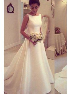 553403c0c8cb2 Satin Wedding Dresses,A-Line Formal Wedding Dress, Simple Wedding Dress,  Backless Wedding Dresses, Elegant Vintage Women Wedding Gown 2017