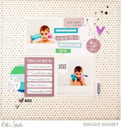 5 things scrapbook layout by Maggie Massey for Elle's Studio