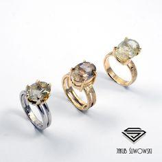 Rutilated quartz rings by Jakub Sliwowski