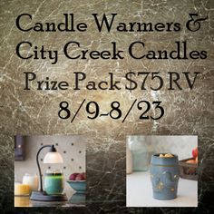Candle Warmers Giveaway Prizes: Aurora Candle Warmer Lamp, The Bluebird Illumination Fragrance Warmer and Winners Choice of Scent of Candle and Melts from City Creek Candles $75 RV Dates: 8/9-8/23 Open to: US Residents 18+