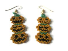 PumpkinTrio  earrings Dangle Bead stitched Halloween Jewellery Orange Green Gold Black