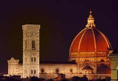 An evening shot of the famous Duomo of Florence featuring Giotto's tower and Brunelleschi's Dome. This one was shot from the top of the tower at the Hotel Torre Guelfa.