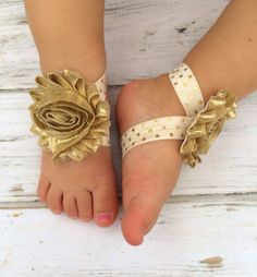 Gold and Ivory Vintage Inspired Baby Barefoot Sandal and Headband ...