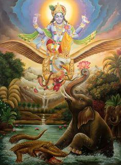 Gajendra Moksh by Vishnu with Garud