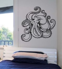 Octopus Wall Decal Version 2 Vinyl Sticker Art by StateOfTheWall Octopus Drawing, Octopus Art, Octopus Design, Octopus Tattoos, Tatuagem Old School, Diy Carpet, Stair Carpet, Posca, Vinyl Wall Decals