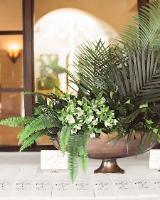 The day's minimalist black, white, and gold palette was punctuated by lots of greenery.