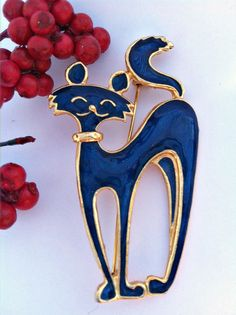 Vintage Blue and Gold Kitty Cat Brooch