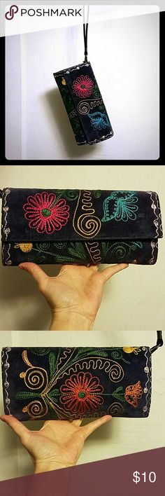 """Embroidered Purse This sweet little, Bohemia inspired clutch has the embroidery all the way around. Including the sides. The inside is clean as a whistle as I have never used it. I lean more toward cat inspired bags (Like my Betsey Johnson) It only has the one strap, pictured above, because I promptly lost the cross body strap. 10"""" long, 5"""" high and 4"""" deep. Bags Clutches & Wristlets"""