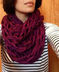 Super Bulky Arm Knitted Purple Infinity Scarf by OliviaAshDesigns