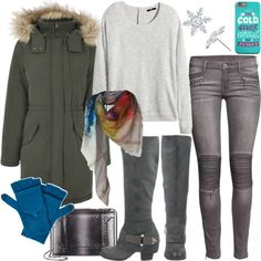 From #snowmanbuilding to #iceskating, a #fauxfur-trimmed #parka & colorful #printscarf are a stylish #coldweather combo sure pop against winter snowbanks. Land a style #tripleaxel in a #greysweater & #skinnyjeans with bright #poptop #gloves & a #crossbodybag that won't interfere with your #figureeights. Add #hotcocoa & #Fergie #boots to get to & from the rink in comfort & style!