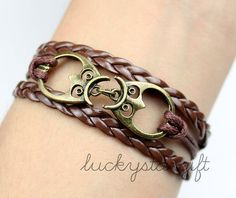 Bronze double owl bracelet with brown strap brown leather braided bracelet personality charm bracelet-Q246 by luckystargift, $3.19