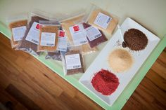 Savory Spice Blend packets are favors. Tagline: Savor the Moment!