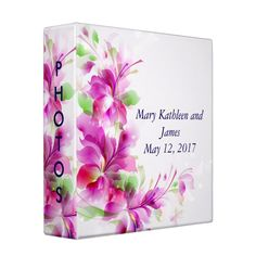Pink & Green Abstract Floral Wedding Photo Album