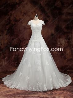 fancyflyingfox.com Offers High Quality Short Sleeves A-line Lace Plus Size Wedding Dress V-Back ,Priced At Only US$258.00 (Free Shipping)