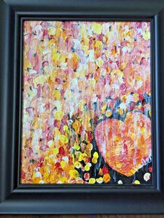 Items similar to SHIPS FREE Original Artwork Acrylic on Canvas Textured Heart Abstract Painting Palette Knife Framed Signed Funny Valentine Orange Yellow on Etsy