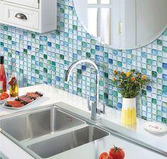 I <3 Peel & Stick!! Sapphire Blue Mosaic 3D Fire Retardant Kitchen or Bath Backsplash Wallpaper by Beaustile. 4 Aluminum foil, epoxy resin, and PET 12.2 x 12.2 sheets $49.95 at amazon.com