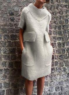 Solid Pockets Sweater Knee-Length Shift Dress - Floryday - New Ideas Knit Fashion, Look Fashion, Fashion Outfits, Fashion Coat, Sweater Fashion, Fashion Trends, Knee Length Dresses, Short Sleeve Dresses, Long Sleeve