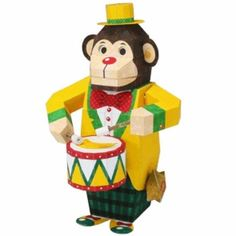 Monkey Drummer,Toys,Paper Craft,play,mechanical toy,monkey,Drum ,Moving toy