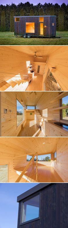 This simple, Japanese-inspired tiny house is the Escape One. Its shou sugi ban siding provides a dramatic contrast to the natural pine interior.