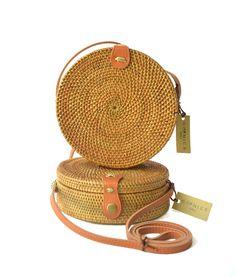 CANGGU BAG Handwoven Rattan Beach Bag Straw Bali Bag Wicker Bag Natural Ata Grass Crossbody Shoulder Bag