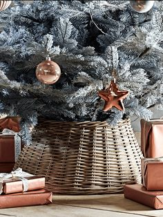 Hide away those ugly tree stands with our rattan Christmas tree ring. Made from hand woven split rattan, this simple ring adds the finishing touch to any tree. Team with our Super Frosted Sage Christmas Tree for a fabulous festive look.