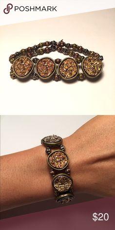 Mixed Metal & Topaz Druzy Bracelet Double stranded mixed metal bracelet adorned with 4 topaz druzy stones. One size fits all REPURPOSE bracelets Jewelry Bracelets