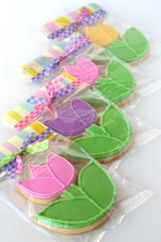 Spring flowers... and pretty cookies, two of my favorite things are even better together! Kick off spring with this fun project, and then share some spring sweetness with your family and friends. These pretty cookies are sure to brighten anyone's day! With just a few bags of icing, you can create these simple, yet beautiful tulip cookies.