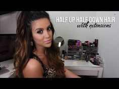 Nicole Guerriero - Half Up Half Down Hair With Extensions Hair Extensions Tutorial, Clip In Hair Extensions, Hairstyles With Extensions, Eyelash Extensions, Curled Hairstyles, Trendy Hairstyles, Hairdos, Half Up Half Down Hair Tutorial, Half Ponytail