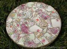 turn broken china into garden stones