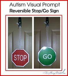 Free printable Autism Visual Prompt - Stop and Go door signs by ShesAlwaysWrite #autism #wandering