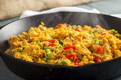 Fast and Easy Arroz con Pollo - for Regular Rice cook additional 10 min or until Rice is completely cooked Rice Recipes, Dinner Recipes, Whole Grain Brown Rice, Roasted Red Peppers, Frozen Peas, One Pot Meals, Favorite Recipes, Stuffed Peppers, Giveaway